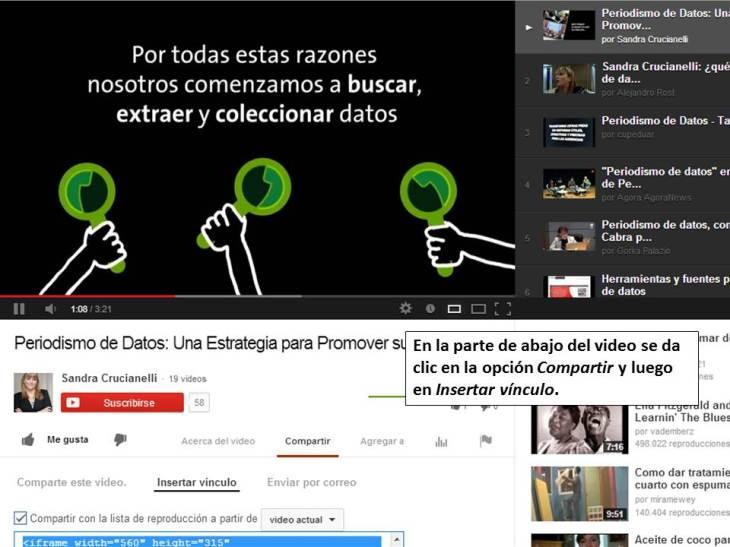 Así se embebe material de Youtube