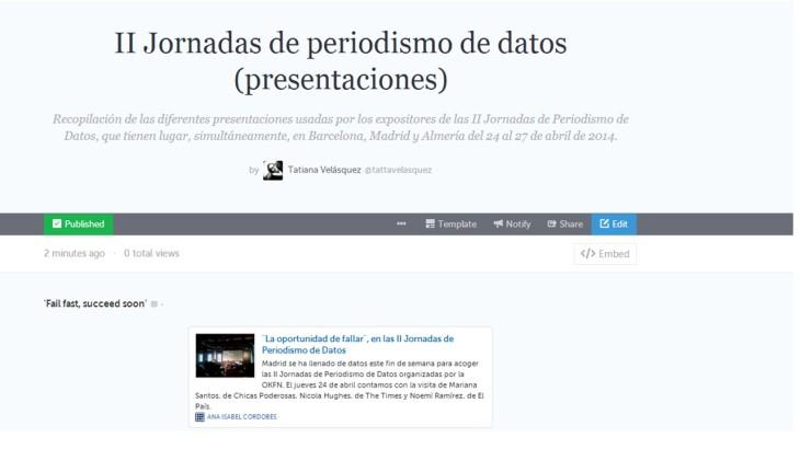 Storify II Jornadas de Datos